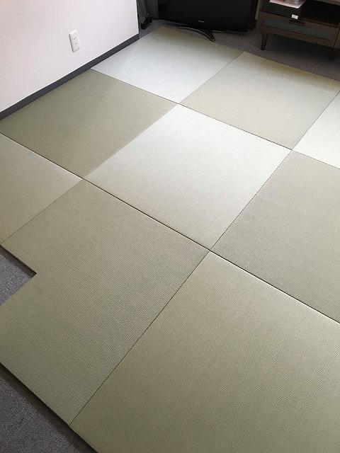 極薄縁無し琉球畳:タイルカーペットからニッポンの床に模様替え:大阪のイマドキの畳屋さんうえむら畳4