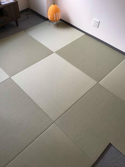 極薄縁無し琉球畳:タイルカーペットからニッポンの床に模様替え:大阪のイマドキの畳屋さんうえむら畳5