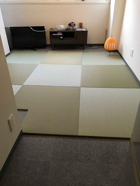 極薄縁無し琉球畳:タイルカーペットからニッポンの床に模様替え:大阪のイマドキの畳屋さんうえむら畳6