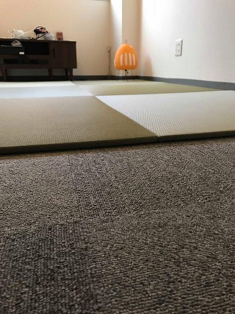 極薄縁無し琉球畳:タイルカーペットからニッポンの床に模様替え:大阪のイマドキの畳屋さんうえむら畳7