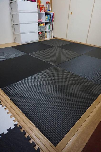 極薄縁無し琉球畳(ブラック×市松柄ブラック)大阪府大東市家庭用国産畳専門店いまどきの畳屋さんうえむら畳4