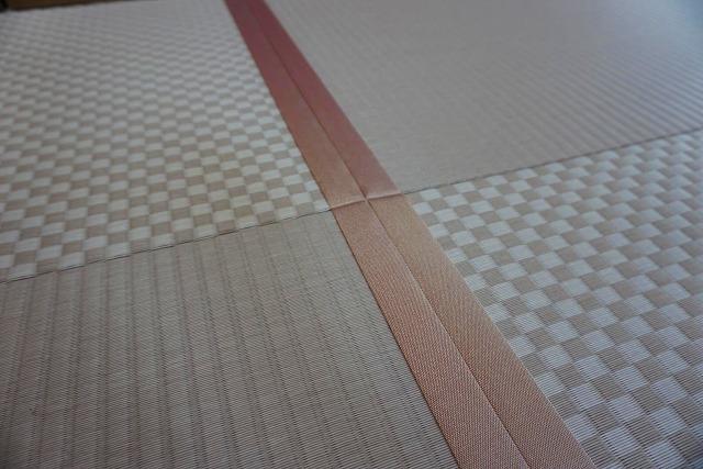 カラー縁無し琉球畳では無いカワイイお部屋に模様替え。(小上がり3帖間ピンク色市松柄施工事例)1