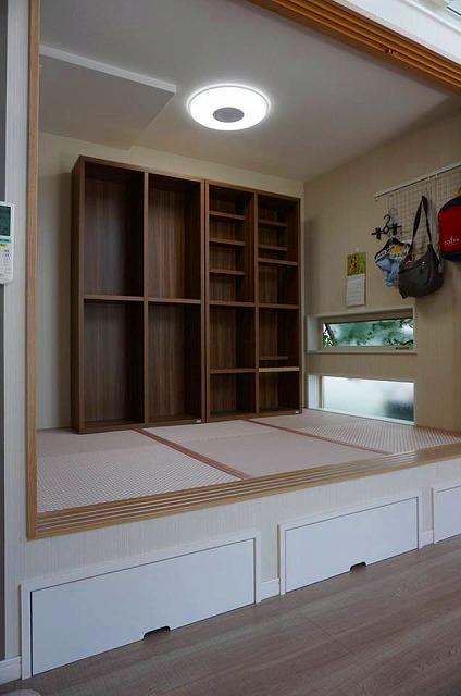 カラー縁無し琉球畳では無いカワイイお部屋に模様替え。(小上がり3帖間ピンク色市松柄施工事例)2