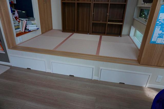 カラー縁無し琉球畳では無いカワイイお部屋に模様替え。(小上がり3帖間ピンク色市松柄施工事例)3