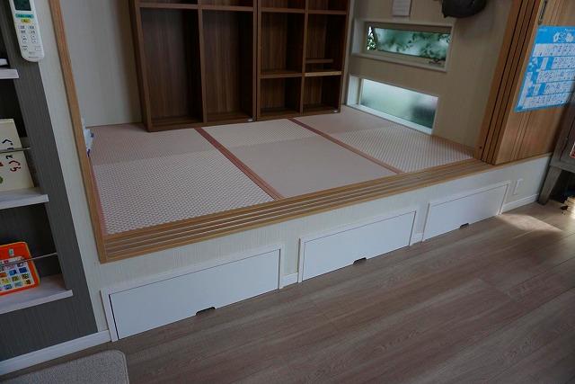 カラー縁無し琉球畳では無いカワイイお部屋に模様替え。(小上がり3帖間ピンク色市松柄施工事例)5