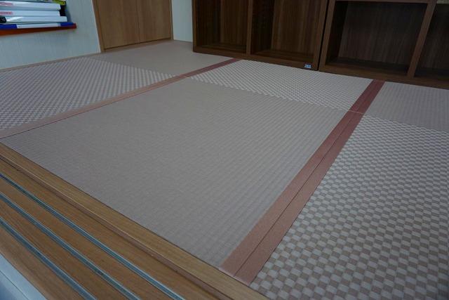 カラー縁無し琉球畳では無いカワイイお部屋に模様替え。(小上がり3帖間ピンク色市松柄施工事例)6