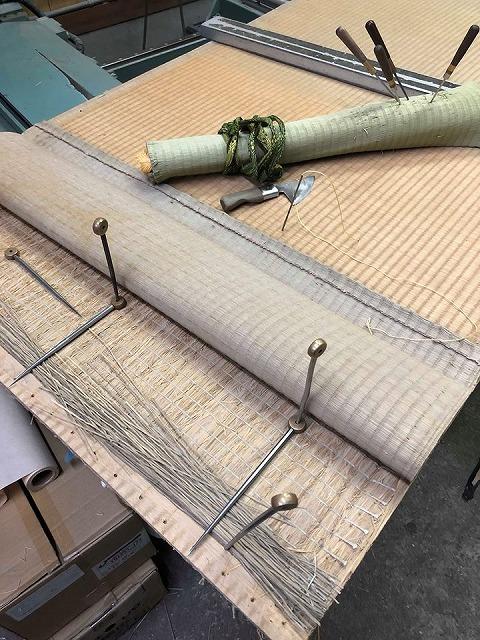 高級板入れ天然稲わら畳(棕櫚裏・丹波裏)板締め&表替えのご依頼。家庭用国産畳専門店うえむら畳12