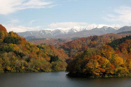 紅葉のあさひ月山湖