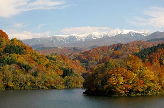 紅葉のあさひ月山湖(月山ダム)