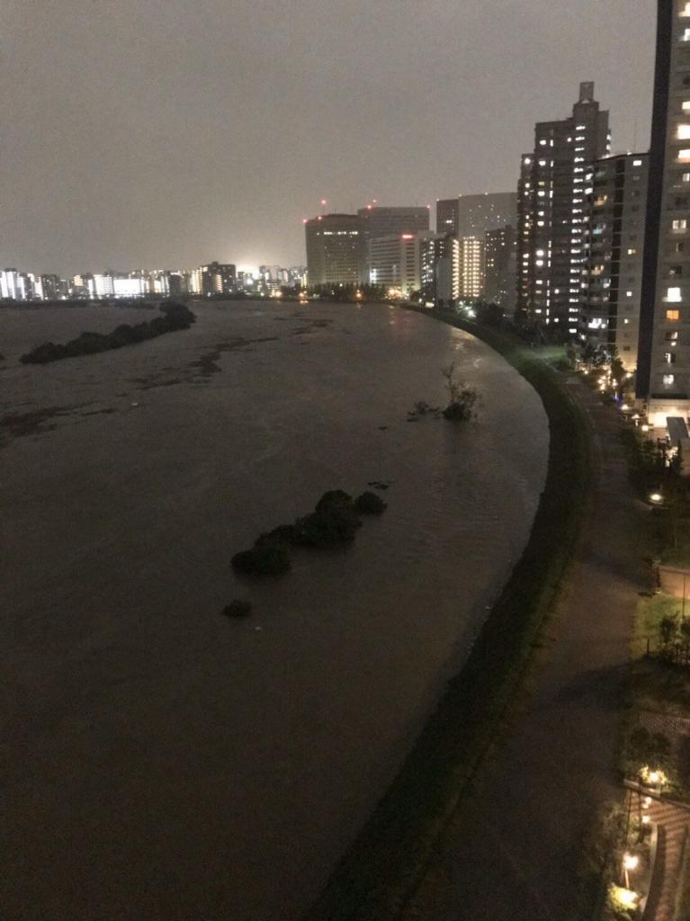 水かさの増した多摩川
