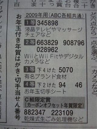 年賀葉書当選番号