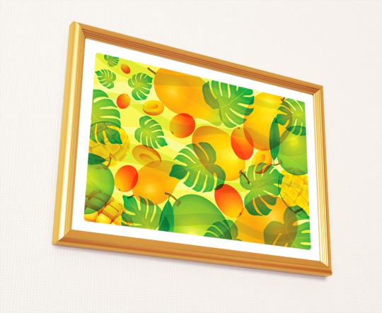 風水果実アートマンゴー&モンステラA4サイズ