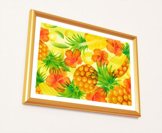 風水果実アート パイナップル&ハイビスカス