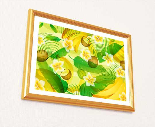 風水果実アート バナナ&ヤシ&フランジパニ2