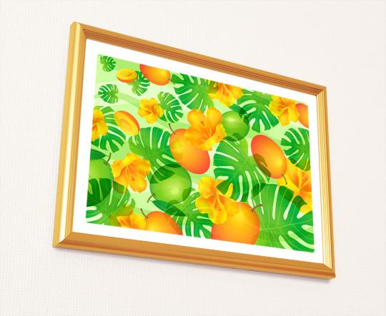 風水果実アートマンゴー&モンステラ2A4
