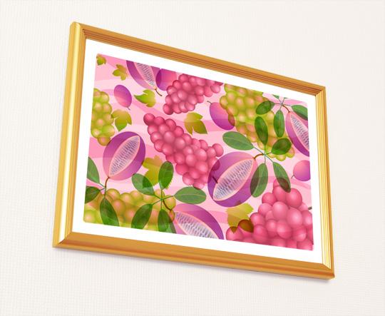 風水果実アート アケビ&ブドウを飾ったイメージ