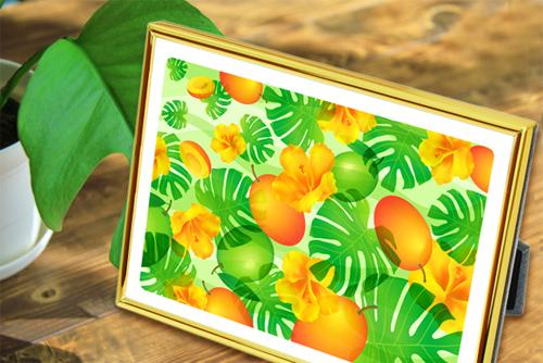 観葉植物と風水果実アートプレミアムFP011_W11