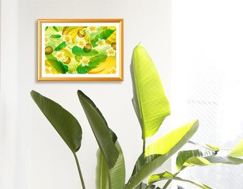 ストレリチアオーガスタと風水果実アートバナナ&ヤシ&フランジパニ
