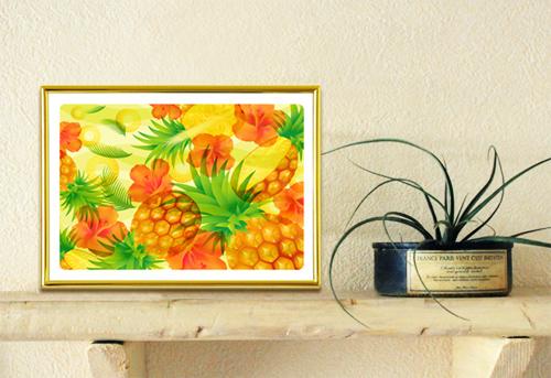 エアプランツと風水果実アートプレミアム  パイナップル&ハイビスカスのイメージ