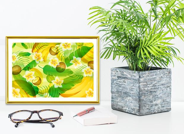 テーブルヤシと風水果実アートプレミアム  バナナ&ヤシ&フランジパニ