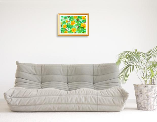風水果実アートモンステラ&ハイビスカスをリビングに飾ったイメージ