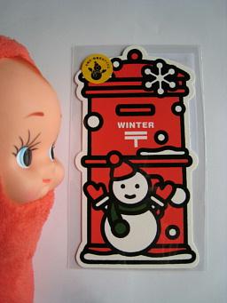 冬のポスト型はがき(雪だるま)