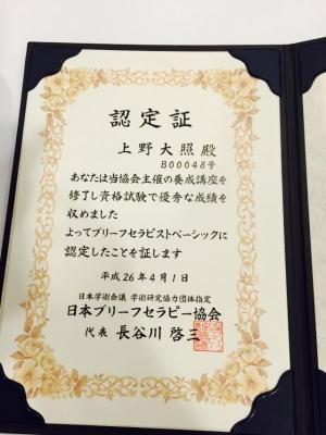 ブリーフセラピスト認定証 上野大照