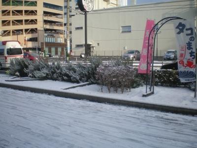 ビル前の雪景色