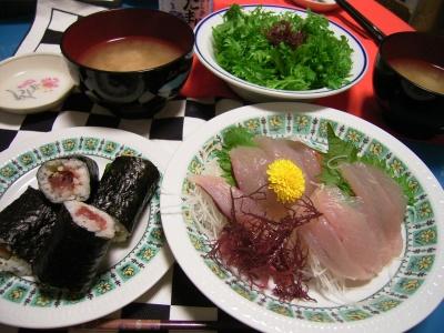 R0026133お寿司の日、ワサビ菜サラダ_400.jpg