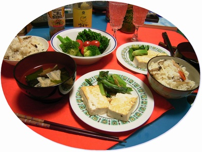 R0026231深川飯と豆腐ソテーと茎ブロッコリー、グミトマト丸_400.jpg