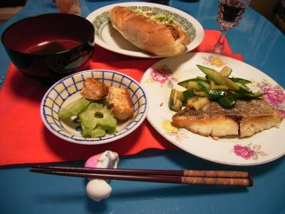 R0026259真鯛のポアレ、ブロッコリー茎とエビかつ、春雨スープ、パン_400.jpg