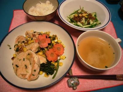 R0026508チキンソテーハーブ風味、きゅうりじゃこサラダ、味噌汁_400.jpg
