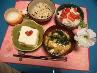 R0026996筍ご飯、冷や奴、かき玉汁、大根とグミトマサラダ_400.jpg