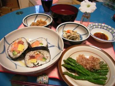 海鮮巻き、アスパラ、春野菜、キノコ汁