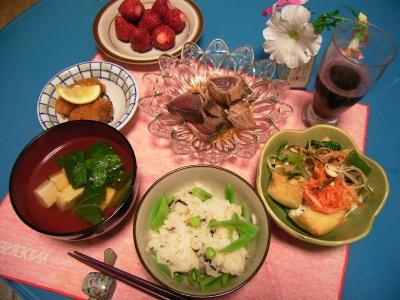 R0027052カツオたたき、ポタ焼きナムル添え、豆腐とチンゲンスープ、牡蠣フライ、シジミピースご飯、イチゴ_400.jpg