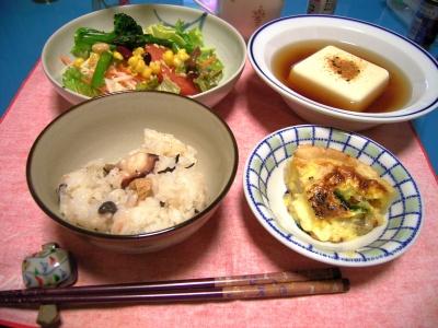 R0027138タコご飯、キッシュ、湯豆腐、サラダ_400.jpg
