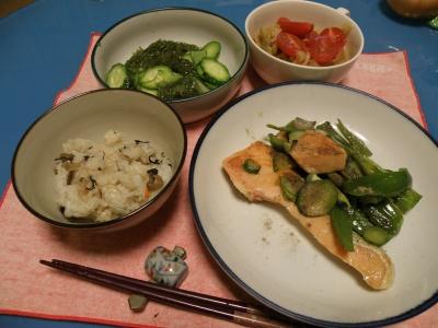 P5240046鮭ムニエルトマトシチュー、きゅうりとメカブ0531_400.jpg