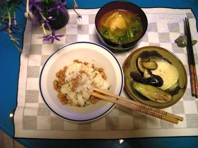 RIMG5778ナスのカチョカバロソテー、チキン水菜スープ、納豆ごはん_400.jpg