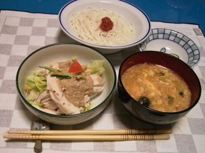 RIMG5779ごまだれ棒々鶏サラダ、素麺、卵とじスープ_400.jpg
