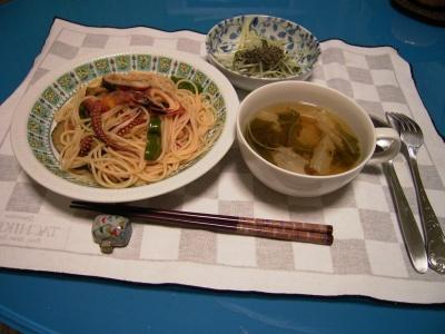 R0028045イカと野菜のスパゲティ、湯葉のスープ、水菜の胡麻和え_400.jpg