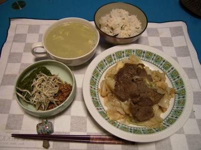 R0028856ビーフステーキ、メカブ納豆ジャコ、アスパスープ、蜆芽ひじきご飯_400.jpg