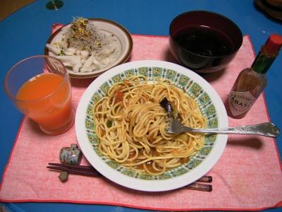 R0029203ナスのスパゲティとアオサのお吸い物、大根とジャコのサラダ_400.jpg