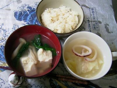 R0029770夜-大根飯、海老ワンタンとイカのスープ、湯豆腐_400.jpg