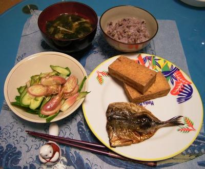 R0029788夜-鰺のみりん干し、厚揚げ焼き、若布の味噌汁、五穀米ご飯、キュウリと茗荷のサラダ_400.jpg