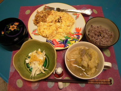 R0029816夜-ほし菊と蕪の酢の物、ポテトオムレツ、キャベツのスープ、五穀米ご飯、錦松梅_400.jpg