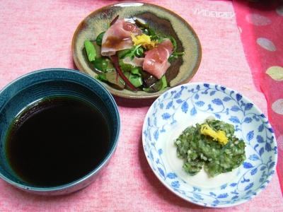 R0029849夜-豆腐刻み野菜のせ、生ハムさらだ、蕎麦つゆ_400.jpg