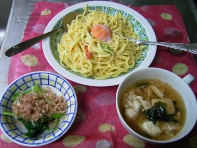 R0029961夜-卵スパゲティ、コマツナおひたし、高野豆腐の具だくさんスープ_400.jpg