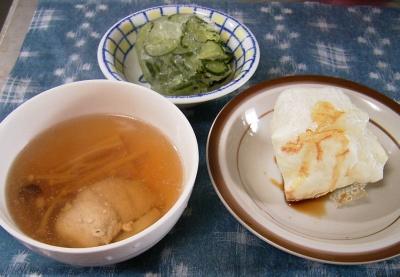 R0029974昼-冷凍キュウリと蕪の酢の物、お餅、鶏のスープ_400.jpg