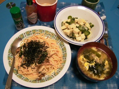R0029978和風スパゲティ、キュウリと高野豆腐の酢の物、かき玉汁_400.jpg