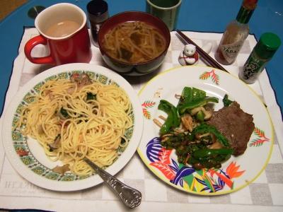 R0030122夜-牛ステーキ野菜ソテー添え、シメジスパゲティ、もやしスープ_400.jpg
